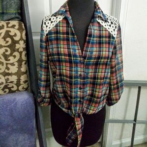Rue 21 plaid and sheer shirt.